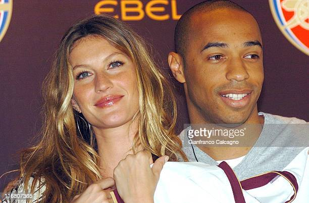 Gisele Bundchen and Thierry Henry during Arsenal Football Club and Ebel Launch Partnership Photocall June 19 2007 at The Hospital in London Great...