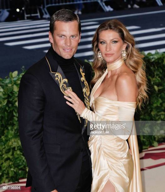 Gisele Bundchen and Tom Brady attends the Heavenly Bodies Fashion The Catholic Imagination Costume Institute Gala at Metropolitan Museum of Art on...