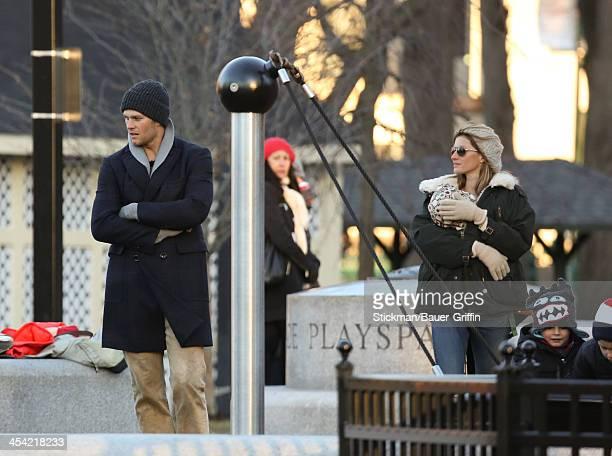 Gisele Bundchen and Tom Brady with children Vivian Brady John Moynahan and Benjamin Brady are seen on December 07 2013 in Boston Massachusetts