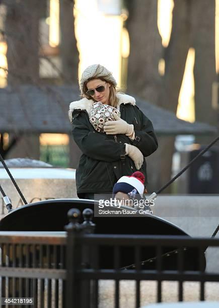 Gisele Bundchen and Vivian Brady with John Moynahan are seen on December 07 2013 in Boston Massachusetts