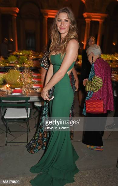 Gisele Bundchen attends a private dinner hosted by Livia Firth following the Green Carpet Fashion Awards Italia at Palazzo Marino on September 24...