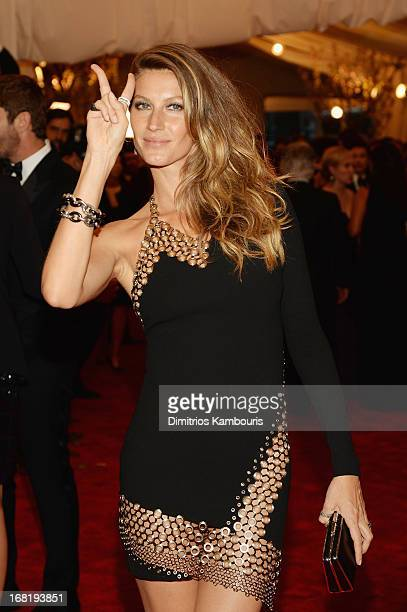 Gisele Bundchen attends the Costume Institute Gala for the PUNK Chaos to Couture exhibition at the Metropolitan Museum of Art on May 6 2013 in New...