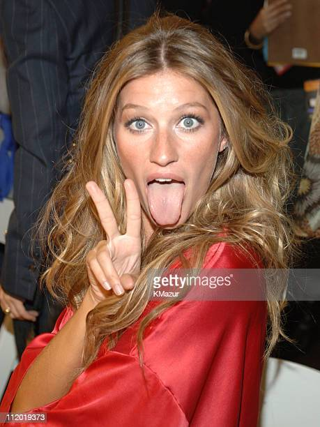 Gisele Bundchen during 10th Victoria's Secret Fashion Show Hair and Makeup at The New York State Armory in New York City New York United States