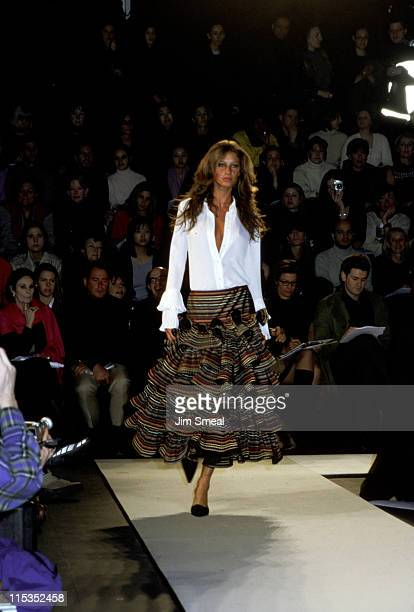 Gisele Bundchen during Oscar De La Renta Fall 2000 Fashion Show at Bryant Park Pavilion in New York City New York United States