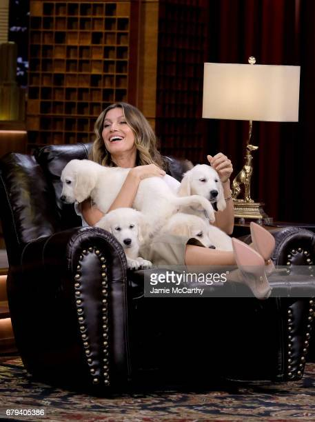 Gisele Bundchen during the 'Pup Quiz' segment on 'The Tonight Show Starring Jimmy Fallon' at Rockefeller Center on May 5 2017 in New York City