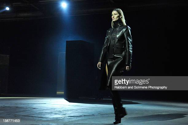Gisele Bundchen walks the runway at the Alexander Wang Fall 2012 fashion show during MercedesBenz Fashion Week at Pier 94 on February 11 2012 in New...