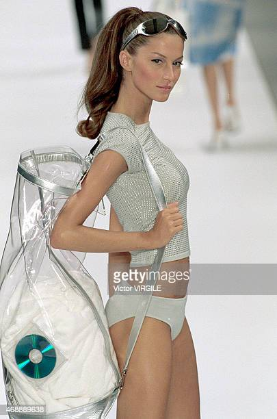 Gisele Bundchen walks the runway at the Celine show as part of Paris Fashion Week Ready to Wear Spring/Summer 2000 show 1999 in Paris France