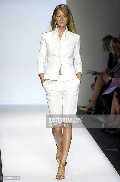 Gisele Bundchen walks the runway at the Narciso Rodriguez show as part of Milan Fashion Week Ready to Wear Spring/Summer 2001 show 2000 in Milan Italy