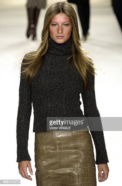 Gisele Bundchen walks the runway at the Ralph Lauren Fall/Winter 2000 Collection 1999 in New York City