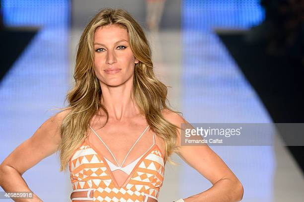 a9e5524757 Gisele Bundchen walks the runway during the Colcci show at SPFW Summer 2016  at Parque Candido