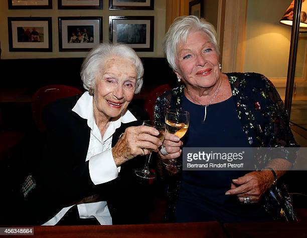Gisele Casadesus and Line Renaud attend the tribute to Gisele Casadesus celebrating her 100th anniversary at Theatre Edouard VII on September 29 2014...