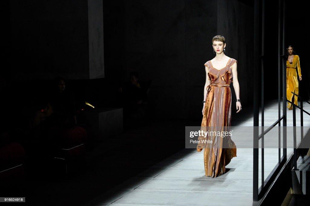 Gisele Fox walks the runway at Bottega Veneta Fashion Show during New York Fashion Week at The New York Stock Exchange on February 9, 2018 in New York City.