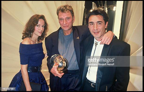 Gisele Galante Johnny Hallyday and Richard Berry at the Victoires de la Musique French Music Awards Ceremony 1987