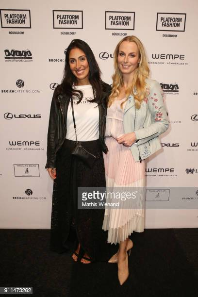 Gisele Ruetter and Angie Herzog attend the Thomas Rath show during Platform Fashion January 2018 at Areal Boehler on January 28 2018 in Duesseldorf...