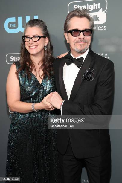 Gisele Schmidt and actor Gary Oldman attend The 23rd Annual Critics' Choice Awards at Barker Hangar on January 11 2018 in Santa Monica California