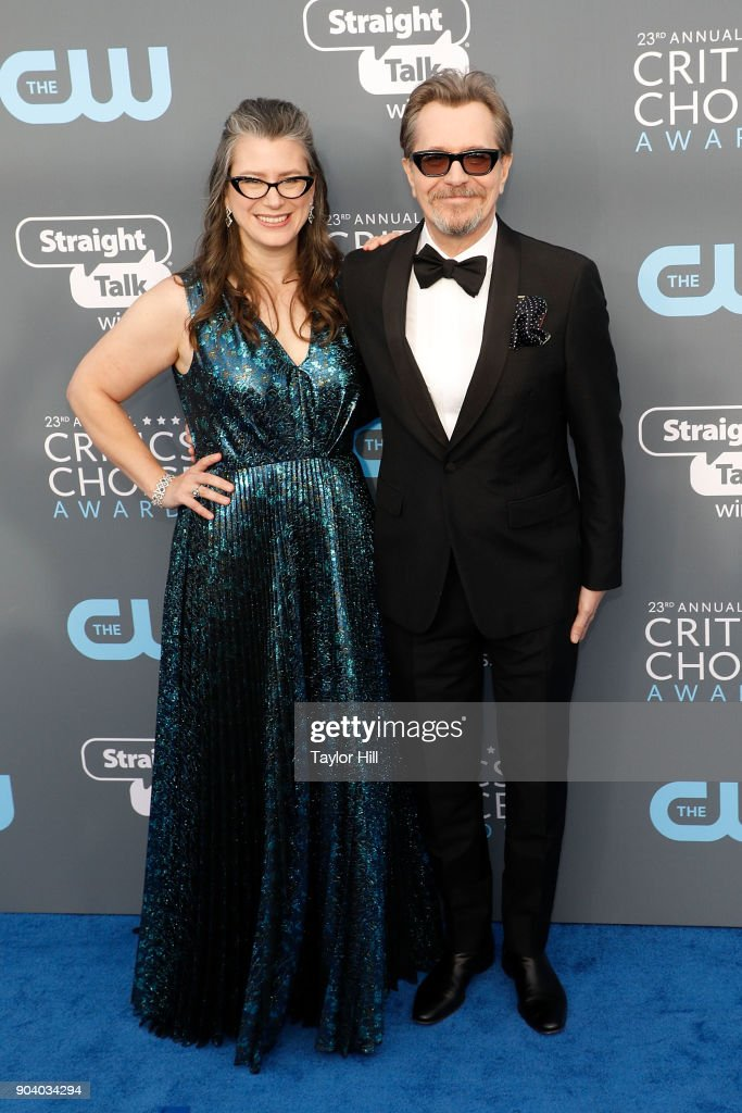 Gisele Schmidt and Gary Oldman attend the 23rd Annual Critics' Choice Awards at Barker Hangar on January 11, 2018 in Santa Monica, California.