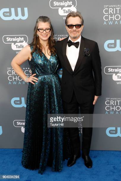 Gisele Schmidt and Gary Oldman attend the 23rd Annual Critics' Choice Awards at Barker Hangar on January 11 2018 in Santa Monica California