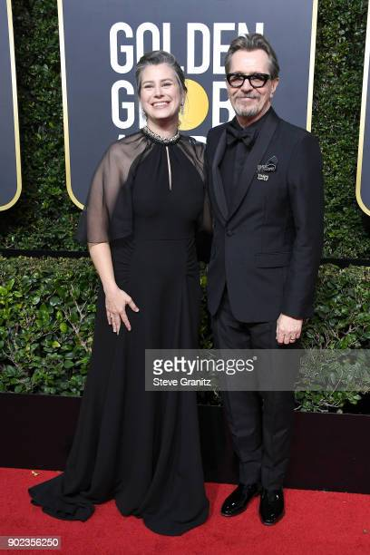 Gisele Schmidt and Gary Oldman attend The 75th Annual Golden Globe Awards at The Beverly Hilton Hotel on January 7 2018 in Beverly Hills California