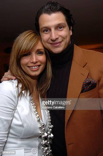 Giselle Blondet and boyfriend Alejandro Grimaldi pose at a benefit dinner for St Jude Children's Hospital on February 28 2006 in Miami Beach Florida