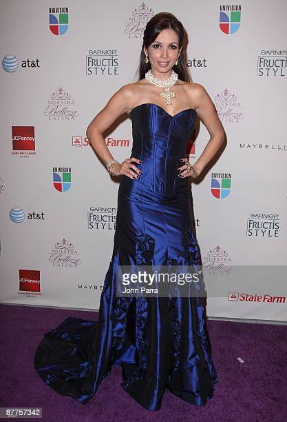 Giselle Blondet arrives at the Grand Finale of Univisions popular reality competition Nuestra Belleza Latina at Greenwich Studios on May 17 2009 in...