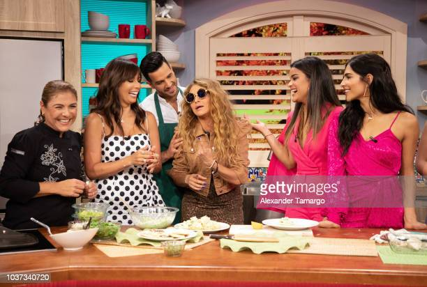 Giselle Blondet Chef Yisus Paulina Rubio Clarissa Molina and Alejandra Espinoza are seen on the set of Despierta America at Univision Studios on...