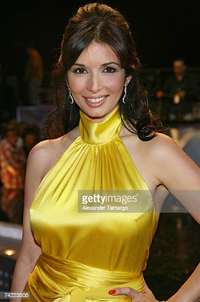 Giselle Blondet host of Univision's Nuestra Belleza Latina poses on stage at Greenwich Studios after the final episode on May 22 2007 in Miami Florida
