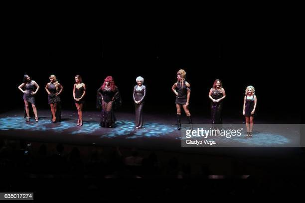Giselle Blondet Maripily Zuleyka Rivera Iris Chacon Charytin Bryan Villarini Luz Garcia and Yolandita Monge perform as part of the play MALAS at...