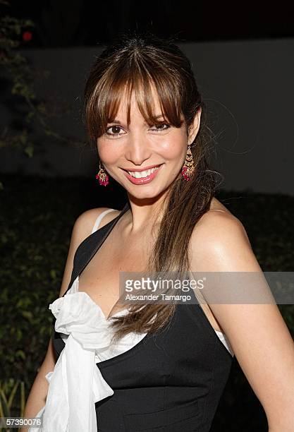 Giselle Blondet poses at the Sagamore Hotel for the kick off party for the Ocean Drive Espanol 2nd Annual Experiencia golf tournament on April 20...