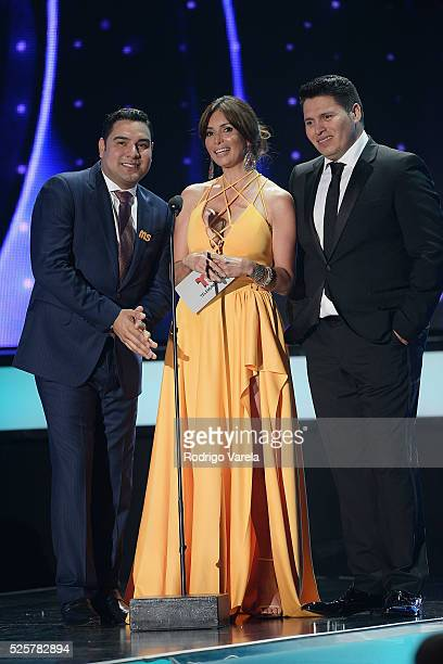 Giselle Blondet with members of Banda MS speaks onstage at the Billboard Latin Music Awards at Bank United Center on April 28 2016 in Miami Florida