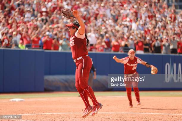 Giselle Juarez of the Oklahoma Sooners reacts after pitching the final out during the seventh inning to win Game 3 of the Women's College World...