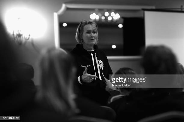 Giselle Mather Head Coach of the Women's Barbarians talks to her team on November 9 2017 in Limerick Ireland