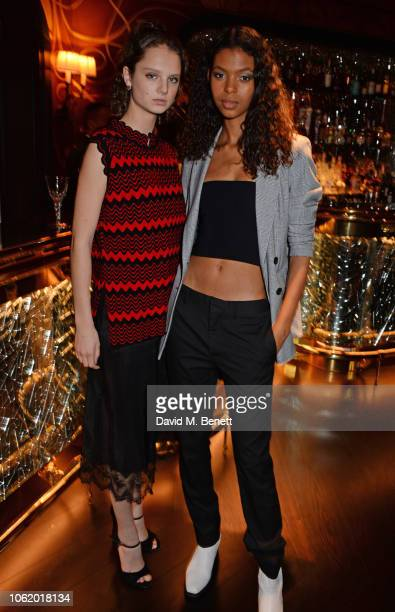 Giselle Norman and Alyssa Traore attend the Chaos SixtyNine Issue 2 launch party hosted by Charlotte Stockdale and Katie Lyall in The Baptist Bar at...