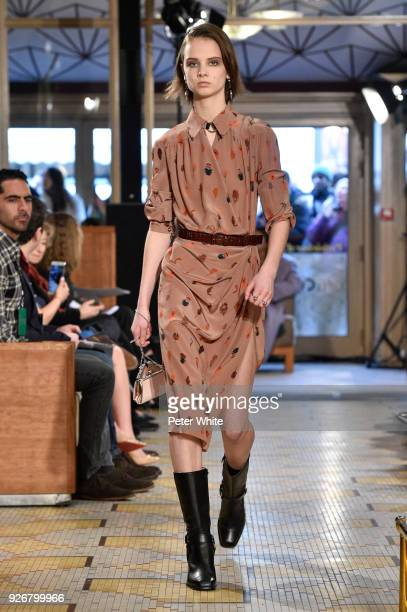 Giselle Norman walks the runway during the Altuzarra show as part of the Paris Fashion Week Womenswear Fall/Winter 2018/2019 on March 3 2018 in Paris...