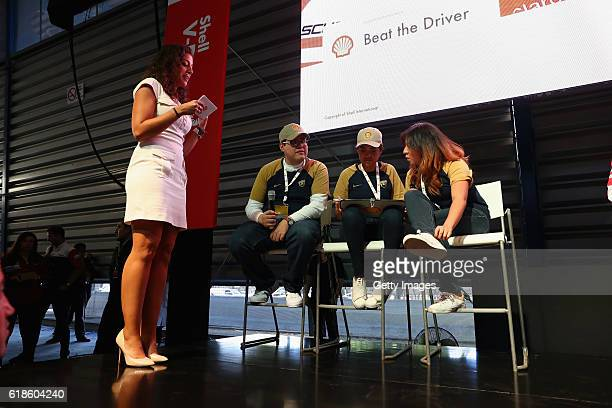 Giselle Zarur Maccise on stage at the Shell Eco Marathon event during the Formula One Grand Prix of Mexico at Autodromo Hermanos Rodriguez on October...