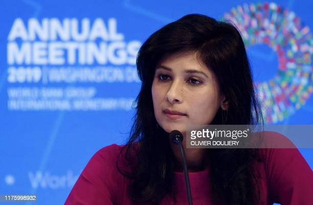 Gita Gopinath IMF Chief Economist and Director of the Research Department speaks at a briefing during the IMF and World Bank Fall Meetings on October...