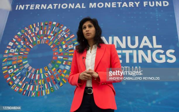 Gita Gopinath, the Chief Economist of the International Monetary Fund, speaks with AFP outside of their headquarters in Washington, DC on October 13,...