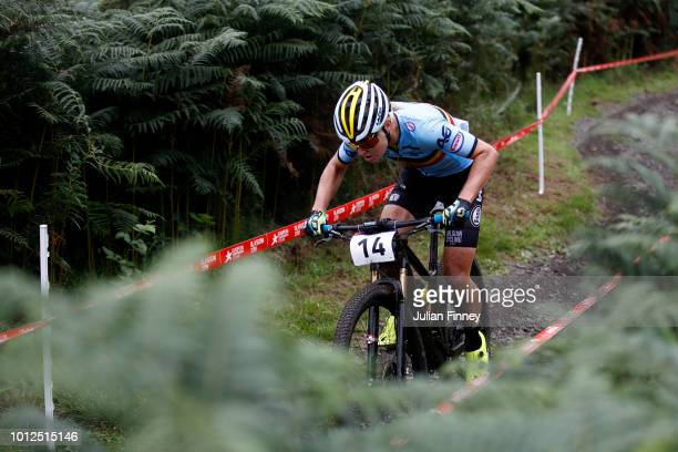 Githa Michiels of Belgium rides during the Women's Mountain Bike CrossCountry on Day Six of the European Championships Glasgow 2018 at Cathkin Braes...
