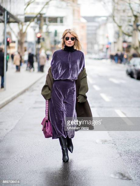 Gitta Banko wearing a lilac velvet dress and an green oversized knitted cardigan by Dawid Tomaszewski logo belt from Gucci black tubular nappa...
