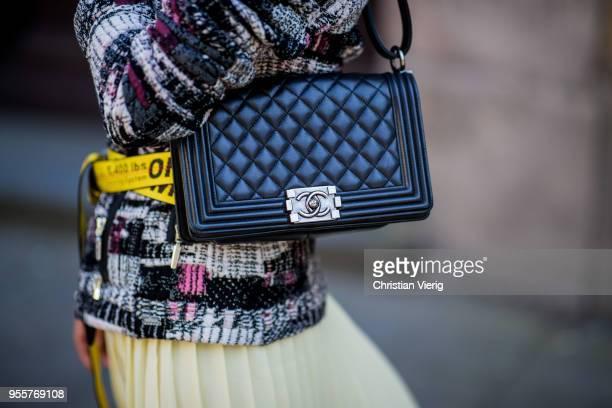 Gitta Banko wearing a tweed jacket by AirField lightyellow turtleneck sweater from Zara yellow pleated skirt from Mango yellow belt by OffWhite black...