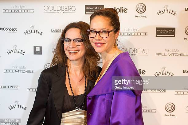 Gitta Saxx and Doreen Dietel arriving at the 'Lange Nacht Der Mode' fashionshow at Filmcasino on February 16, 2012 in Munich, Germany.