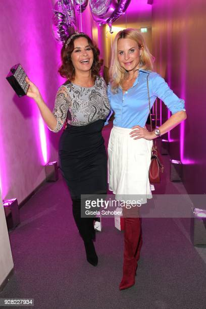 Gitta Saxx and fashion designer Sonja Kiefer during the Business Women's Society launch event at Lovelace Hotel on March 6 2018 in Munich Germany
