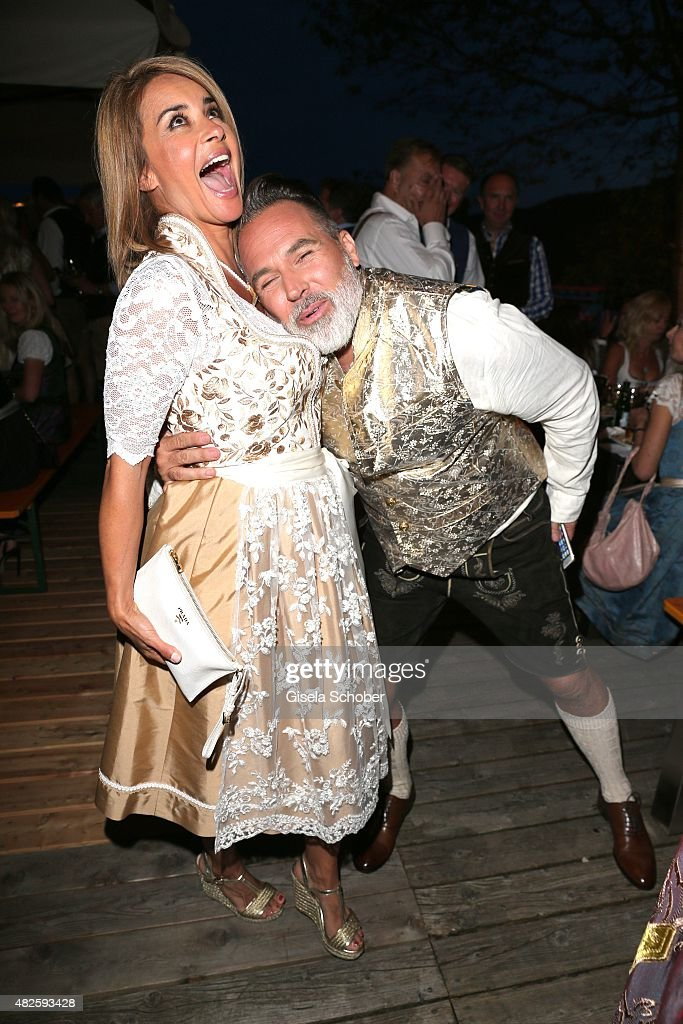 Gitta Saxx and Frank Matthee during the 12th Almrauschparty at Rosi's Sonnbergstuben on July 31, 2015 in Kitzbuehel, Austria.