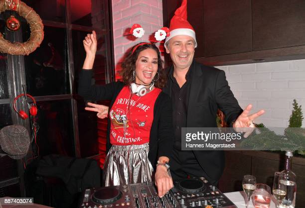 Gitta Saxx and Timothy Peach during the CONNECTIONS PR XMAS Cocktail at Kaefer Atelier on December 6 2017 in Munich Germany