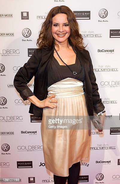Gitta Saxx arrives at the 'Lange Nacht Der Mode' fashionshow at Filmcasino on February 16, 2012 in Munich, Germany.