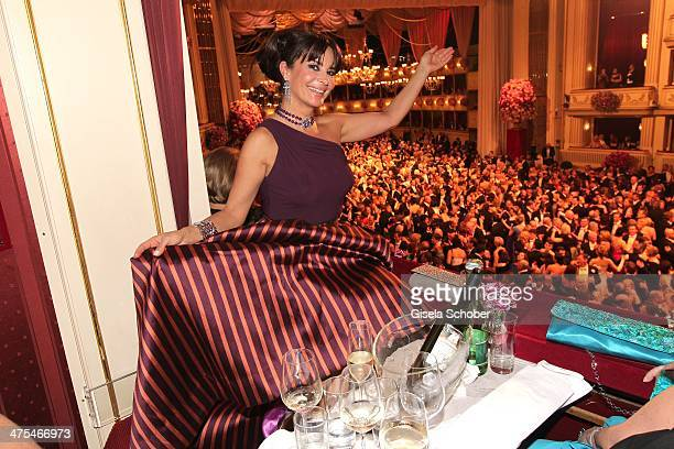Gitta Saxx attends the traditional Vienna Opera Ball at Vienna State Opera on February 27 2014 in Vienna Austria