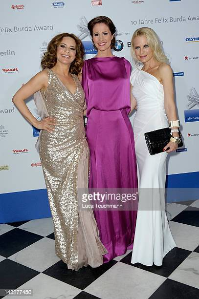 Gitta Saxx Mareile Hoeppner and Sonja Kiefer and attend the Felix Burda Award Gala 2012 at Hotel Adlon on April 22 2012 in Berlin Germany