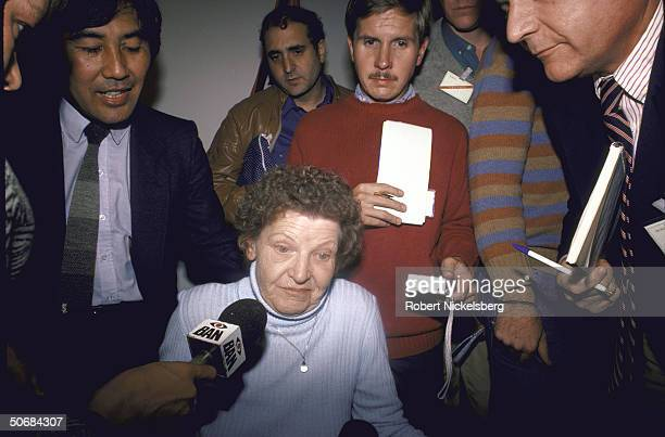 Gitta Stammer who sheltered Nazi war criminal Dr. Josef Mengele being interviewed by press about Mengele's supposed death.