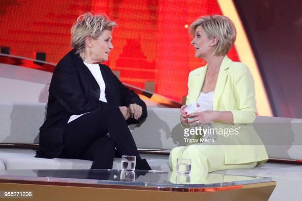 Gitte Haenning and Carmen Nebel during the tv show 'Willkommen bei Carmen Nebel' at SachsenArena on May 5 2018 in Riesa Germany