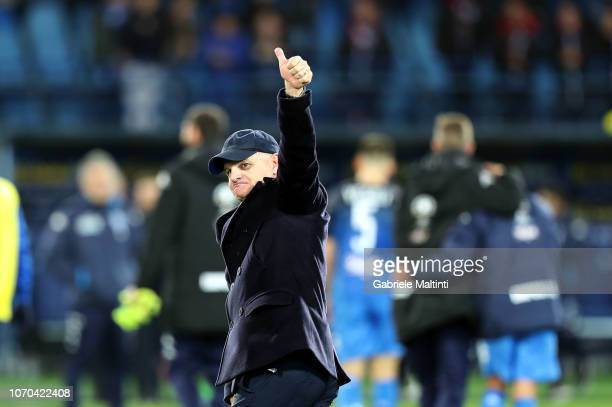 Giuaeppe Iachini manager of Empoli FC celebrates the victory after the Serie A match between Empoli and Bologna FC at Stadio Carlo Castellani on...