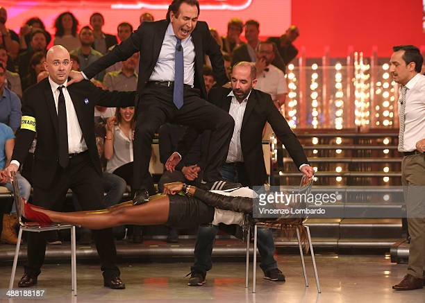 Giucas Casella Performs at 'Quelli che il Calcio' TV Show on May 4 2014 in Milan Italy